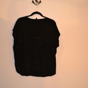 CHAUS BLACK SPARKLE TOP